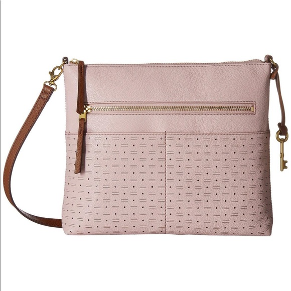 651516ffb24d NWT Pink Leather Fossil Fiona Large Crossbody
